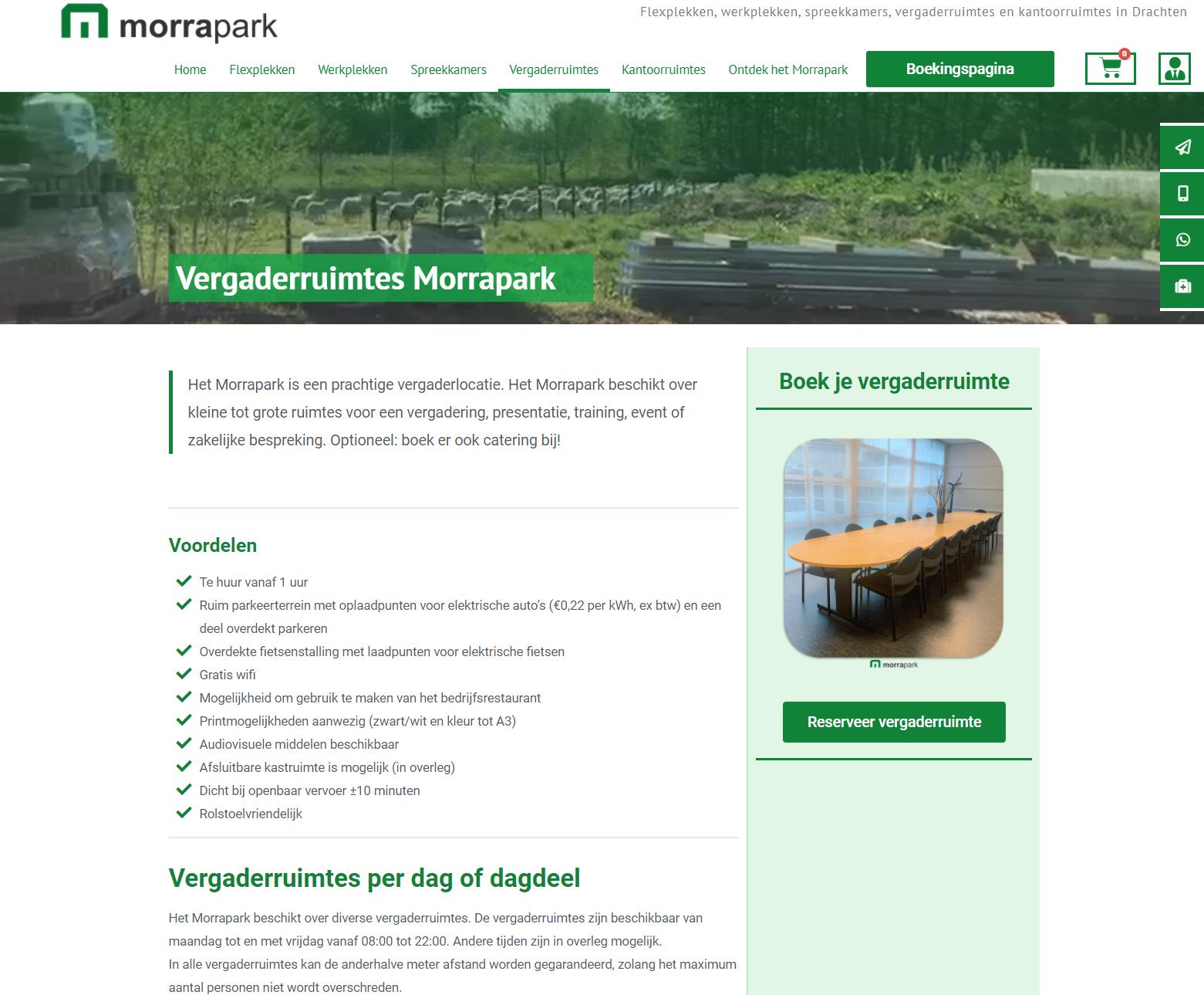 Morrapark vergaderruimtes website door Doeltreffend Online
